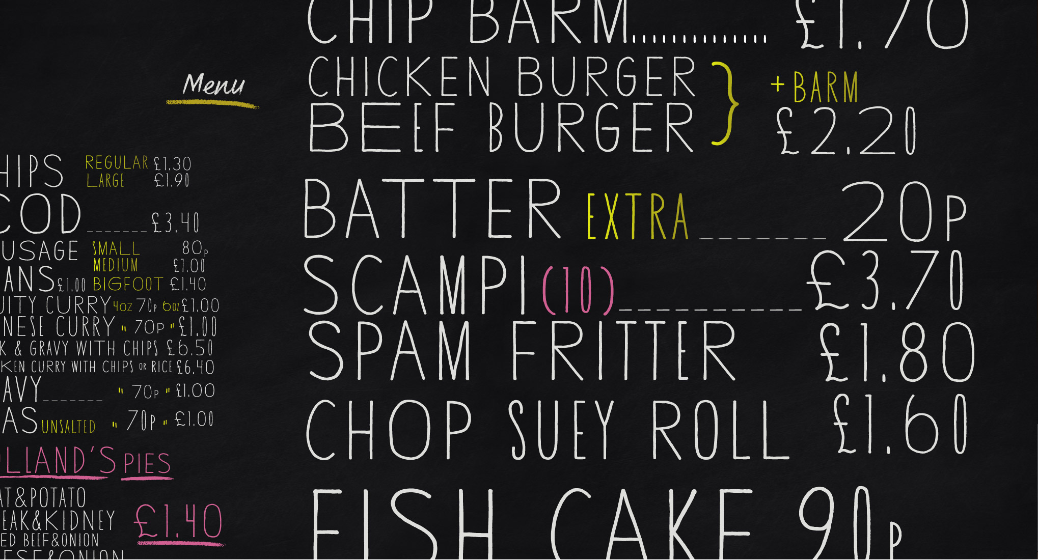 Cantilever Chippy Menu